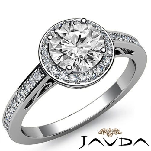 2ct Round Diamond Engagement GIA F VS2 14k White Gold Beautiful Filigree Ring