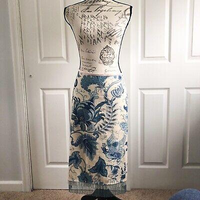 William B Floral Linen Tapestry Silk Lined Skirt With Beaded Fringe Hem Size 4 Beaded Fringe Skirt