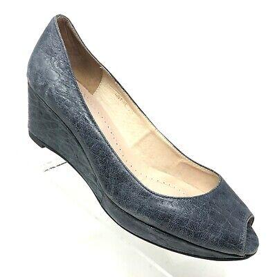 Anthropologie All Black Womens Wedge Heel Gray Leather Peep Toe Size 38 / 8