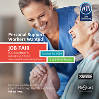 Personal Support Workers WANTED! JOB FAIR Oct.30 @ ReStart
