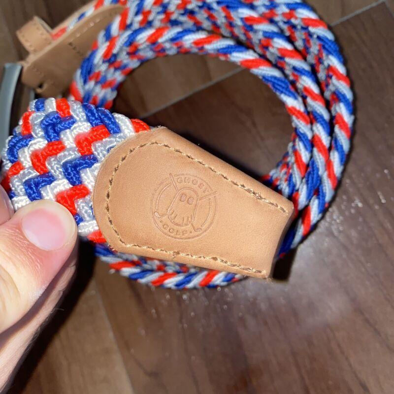 New Ghost Golf Flex Rickie Fowler Belt Braided Size 38 USA Red, White & Blue