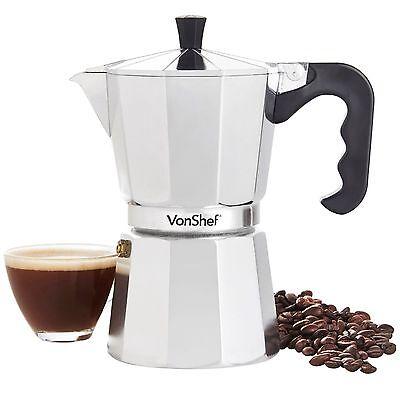 VonShef 6 Cup/300mI Italian Espresso Stove Top Coffee Maker Percolator Pot