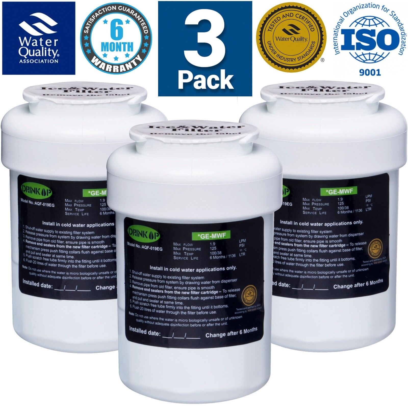 GE General Electric MWF Replacement Refrigerator Water Filter - 3 PACK