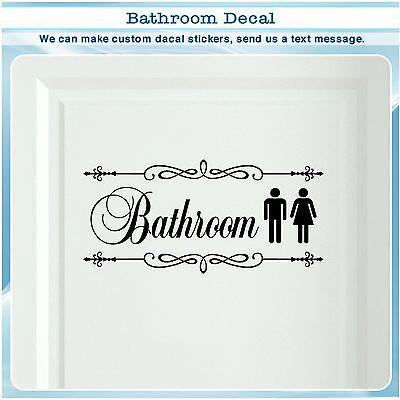 Bathroom Restroom Toilet Door Sign Art Vinyl Home Decor Wall Sticker Decal 024