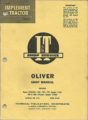 It Oliver Shope Manual Series Super 99950990995770 And 880 Changes