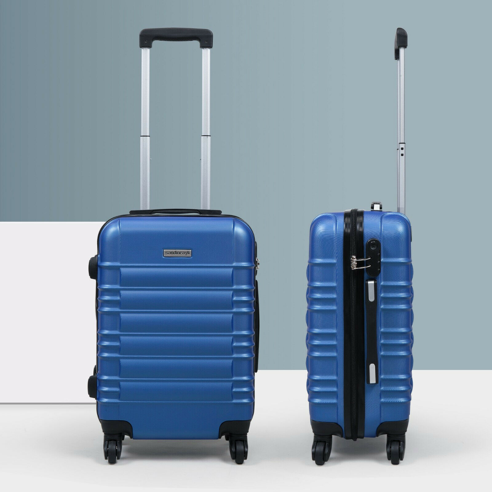 """20"""" ABS Carry On Luggage Hardside Nested Spinner Trolley Travel Suitcase Blue"""
