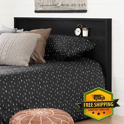Black Wood Storage - Modern Black Wood Headboard With Storage Shelf For Queen or Full Size Bed
