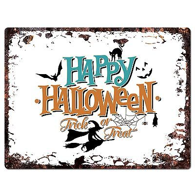 PP1894 HAPPY HALLOWEEN Trick or Treat Plate Chic Sign Home Shop Halloween Decor ](Halloween Shop Decorations)