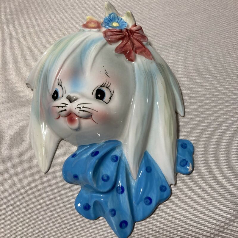 Vintage Lefton Mr. Toodles Dog Puppy Wall Pocket Plaque  #2832 As/Is Blue Bow R