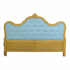Vtg-Carved-French-Louis-XV-Provincial-Style-King-Bed-Headboard-Hollywood-Regency