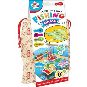 Childrens Learn to Count Fishing Game Educational Counting Toy WOODEN Numeracy