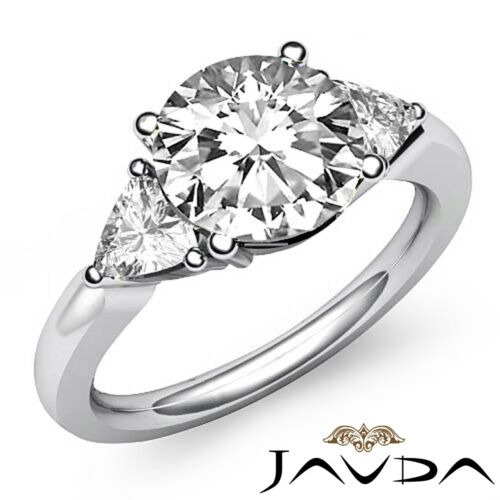 1.55ct Natural Round Diamond 3 Stone Engagement Ring GIA F VVS2 14k White Gold