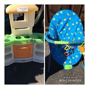 Kids kitchen and bouncer
