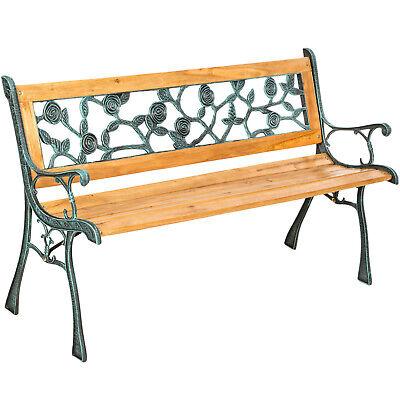 Banc mobilier meuble de jardin parc terrasse bois et fonte à l'ancienne brun
