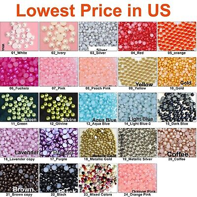 - 1000 pcs Half Round Flat Back Pearl Beads Multi Color Size 2mm 3mm 4mm 5mm 7mm
