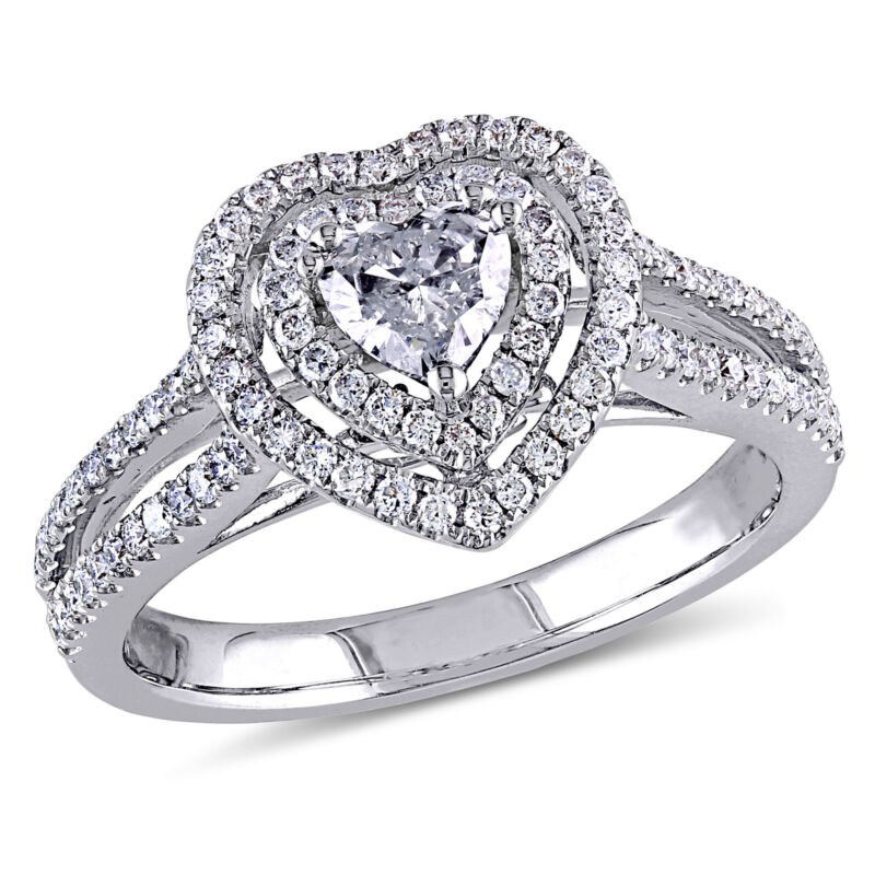 Amour 3/4 Ct Tw Halo Heart Diamond Engagement Ring In 14k White Gold