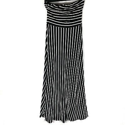West Kei Black & White Horizontal/ Vertical Striped Strapless Maxi Womens (Black And White Horizontal And Vertical Stripes)