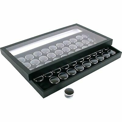 50 Gem Jars Black Display Tray Travel Case Acrylic Lid