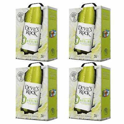 4x 2019 Riesling Qualitätswein Weiß Trocken Bag-in-Box BiB 3L Pfalz Deutschland