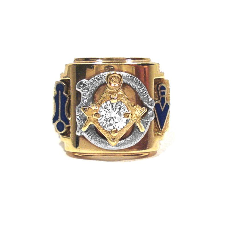 SOLID 10K YELLOW GOLD CZ & ENAMEL DECORATION MASONIC RING - SIZE 9 1/4