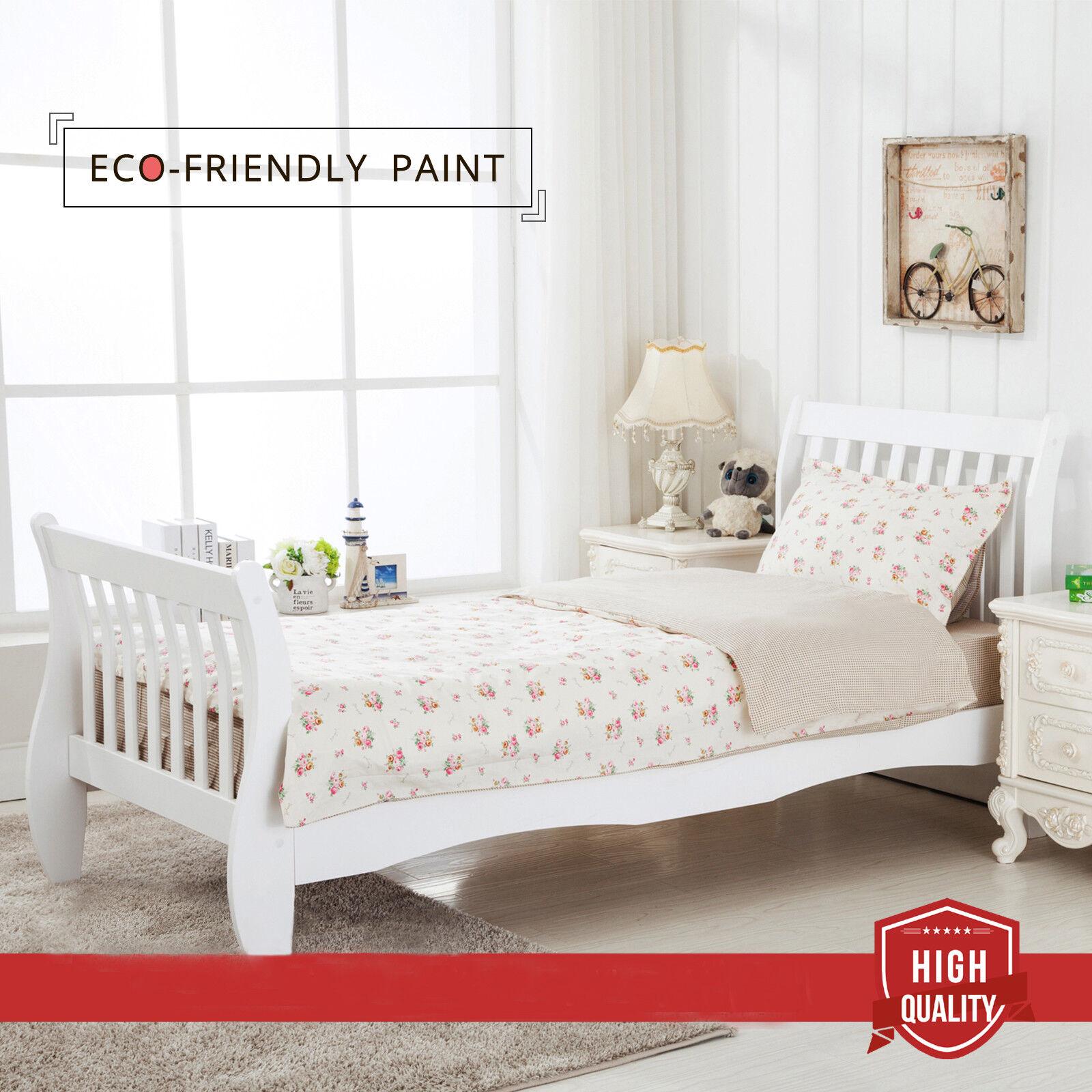 3ft single bed sleigh wood frame white high headboard slat bedroom furniture