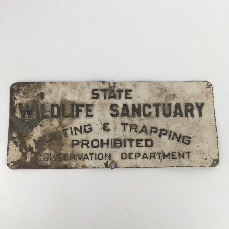 RARE vintage Michigan State Wildlife Sanctuary prohibited DNR sign