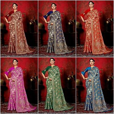 Indian Saree & Blouse Bollywood Sari New Woven Banarasi Kanjivaram Art Silk LB