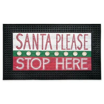 "LIGHT-UP 18-IN x 30-IN LED ""SANTA PLEASE STOP HERE"" HOLIDAY DOOR MAT WITH MUSIC"
