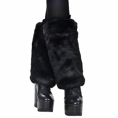 (New Loose Black Leg Warmer Womens Fashion Faux Fur Winter Legging Socks)