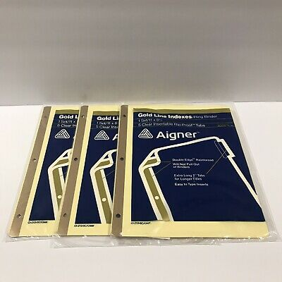 Lot Of 3 Vintage Avery Aigner Gold Line Ring Binder Indexes Clear Tabs 11 X 8.5