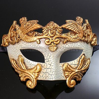Men's Masquerade Ball Party Mask Venetian Greek Emperor Mask Costume Gold White - Mens Masquerade Ball Costumes