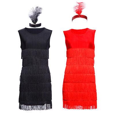 Damen 20er 30er Jahre Charleston Kostüm Kleid Flapper Fransen Gatsby Party Kleid