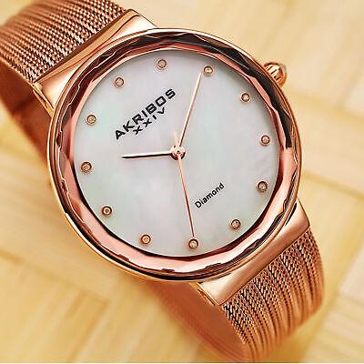Akribos XXIV Women's AK1009RG Diamond Mother-of-Pearl Rose Gold Bracelet Watch