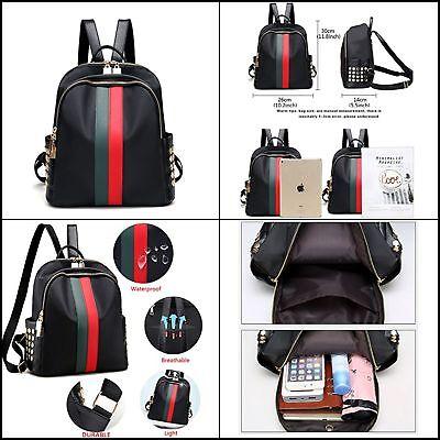Women Leather Mini Backpack Teenager School Tote Gucci-like Stripes Fashion Bag