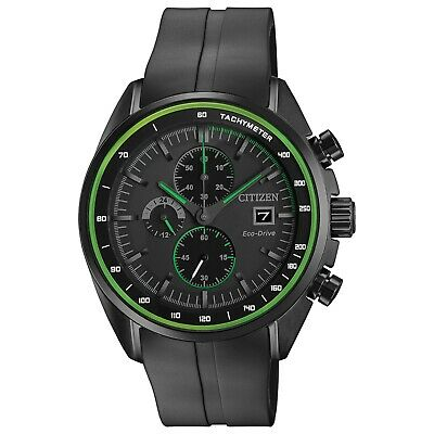 Citizen Eco-Drive Men's Chronograph Green Accents Poly Strap Watch CA0595-11E