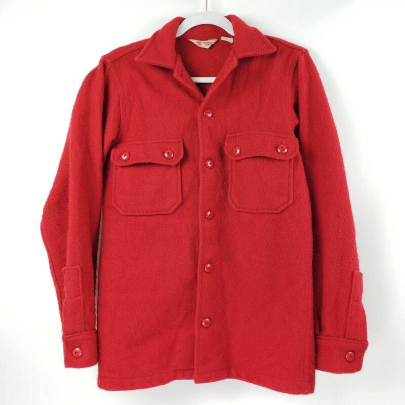 Vintage Boy Scouts of America Official Heavy Red Wool Jacket Shirt mens Size 38