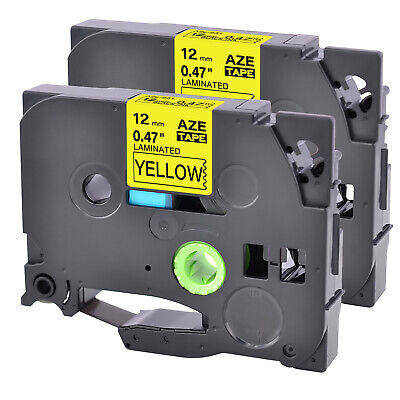 2pk Tz-631 Label Tape Black Yellow Tze-631 For Brother P-touch Pt-d600 12mm8m