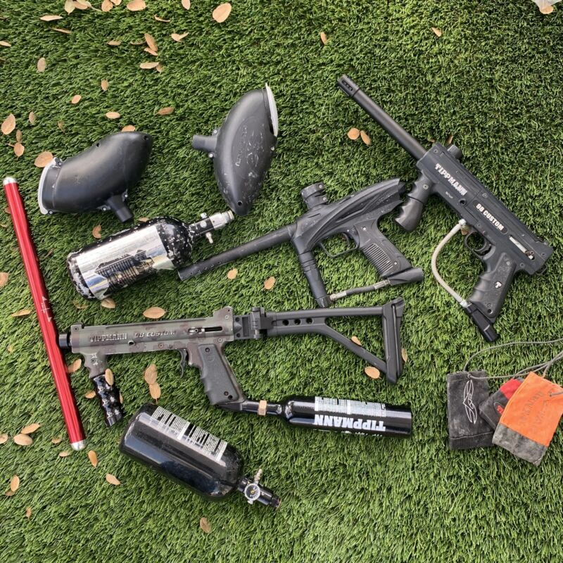 Lot Of 3 Total - 2 Tippmann 98 Custom Mechanical Paintball Gun Marker
