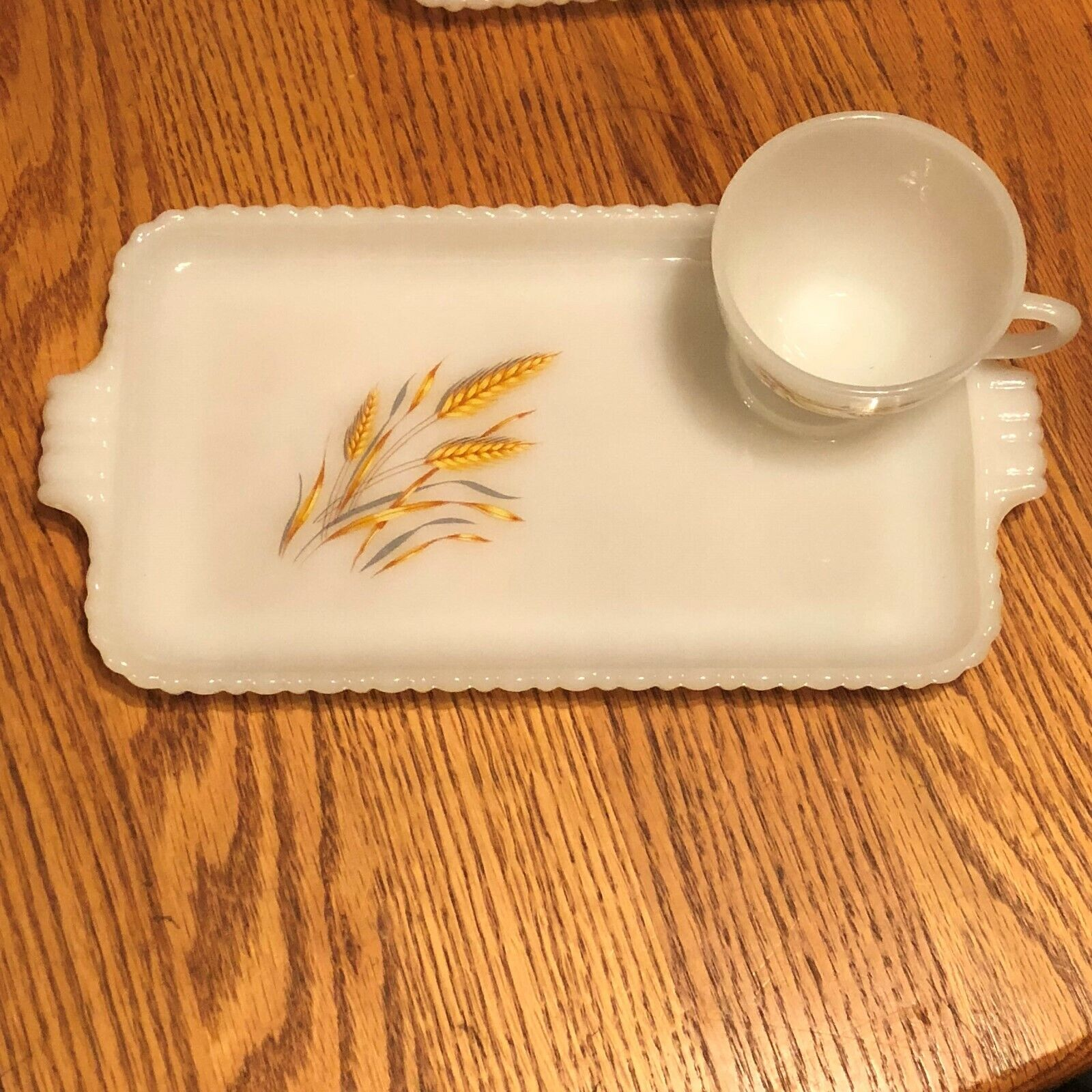 Set Of 4 10 X 6 Serving Trays W/ Small Tea Cup W/ Harvest Gold Wheat Pattern  - $18.99