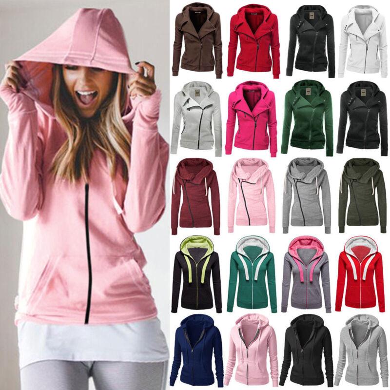 Winter Plain Zip Up Fleece Hoody Women Sweatshirt Coat Jacket Top Hoodies 4-14 1