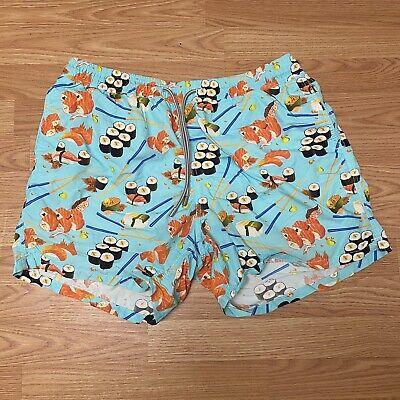 Saint Barth MC2 Men's Swim Trunks Shorts Blue Fish Print XXL