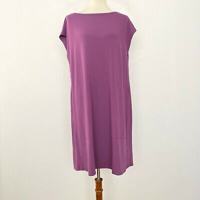 Eileen Fisher L Large Bateau Neck Shift Dress Viscose Jersey Pockets Purple