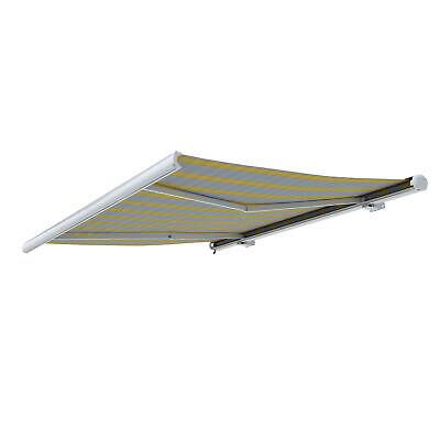 Markise Kassettenmarkise Sonnenschutz elektrisch 350x300cm Gelb Grau B-Ware