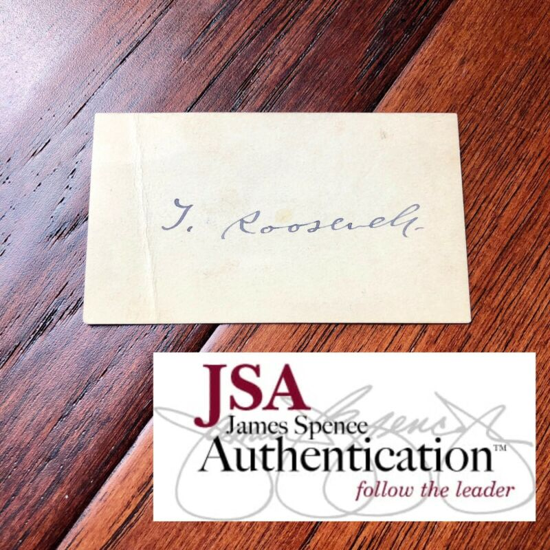 THEODORE ROOSEVELT * JSA LOA * Hand Signed Vice Presidents Card Autograph