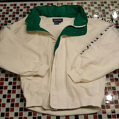 VTG NAUTICA Challenge Mens XL Jacket J Class Sailing Spell Out Coat Green White