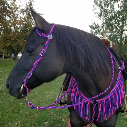 NEW Hand Braided Headstall, Reins, Breast Collar, Horse Tack PURPLE w/PINK *WOW*