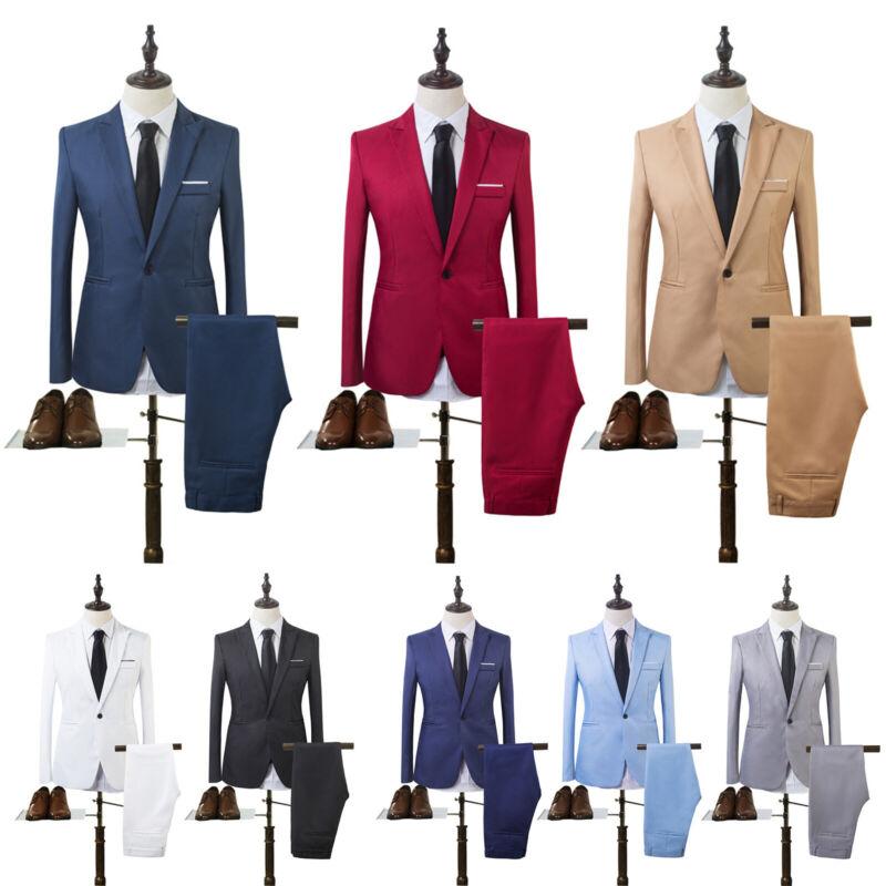 Uomo Vestito Completo Business Formale Smoking Giacca Cappotto e Pantaloni