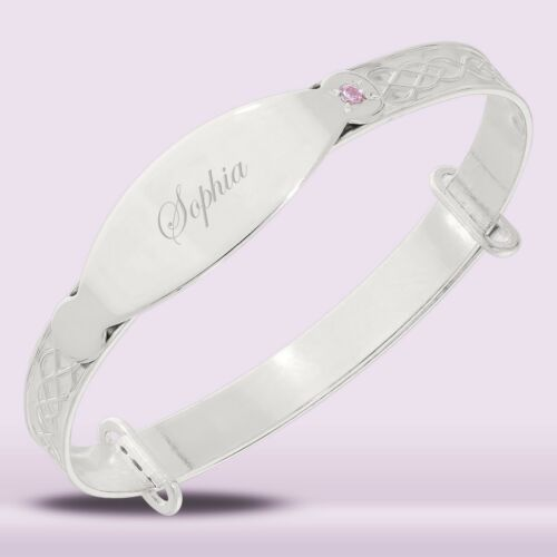 Personalized Baby Girl Bangle Pink CZ Newborn Bracelet 925 Silver Name Gift