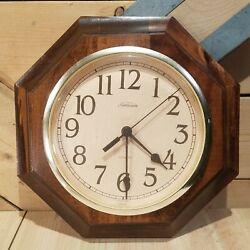 Vtg Sunbeam Dark Wood Octagon Shape Quartz Battery Wall Clock Works- Swanky Barn