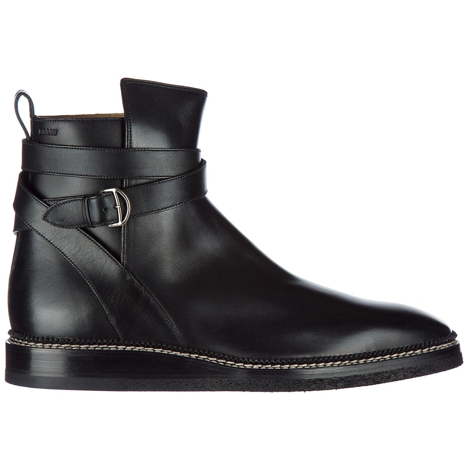 BALLY MEN S GENUINE LEATHER ANKLE BOOTS NEW LEJOR BLACK 7D2   eBay 464e032d9d